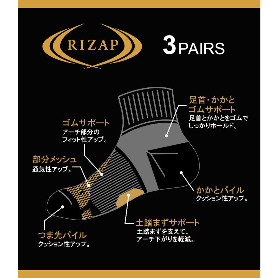 【RIZAP】(3足組)スポーツソックス クロベースタテラインSH3P 26−28cm  7
