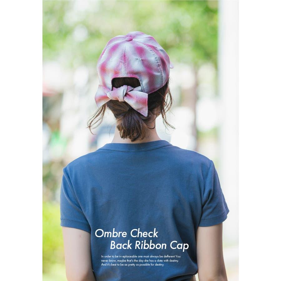 キャップ 帽子 レディース 春夏 UVカット オンブレチェックバックリボン VS3-100 8