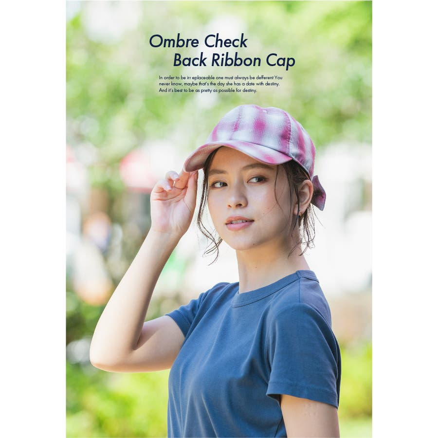 キャップ 帽子 レディース 春夏 UVカット オンブレチェックバックリボン VS3-100 10