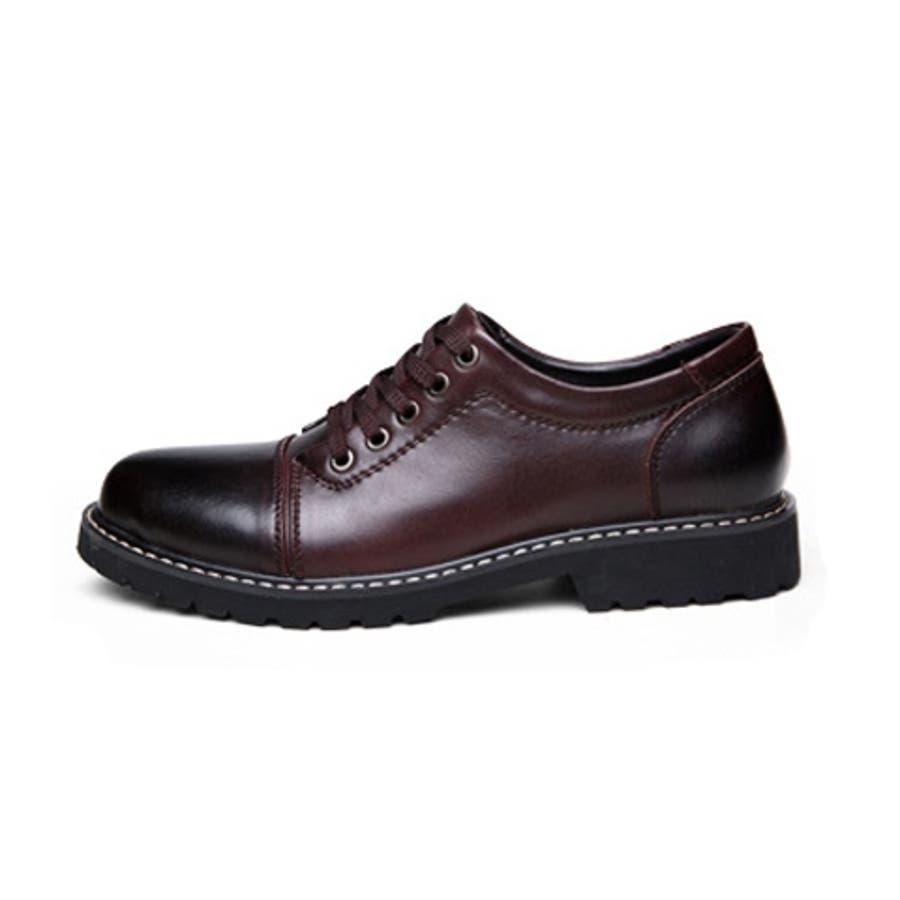 カジュアルシューズ ビジネスシューズ レースアップ メンズシューズ ストレートチップ 外羽根 ワーク 短靴 紐靴