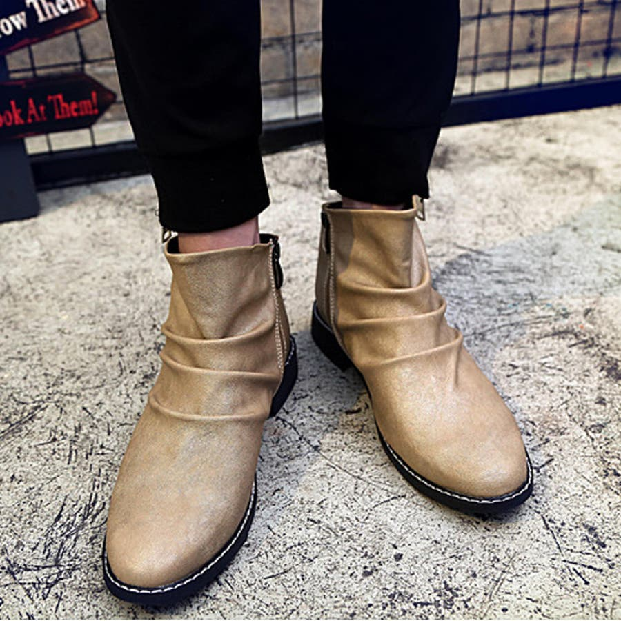 ドレープ ブーツ メンズ 靴 アンクルブーツ ショートブーツ ベージュ ブラック 2017 冬ショート カジュアルシューズ 黒