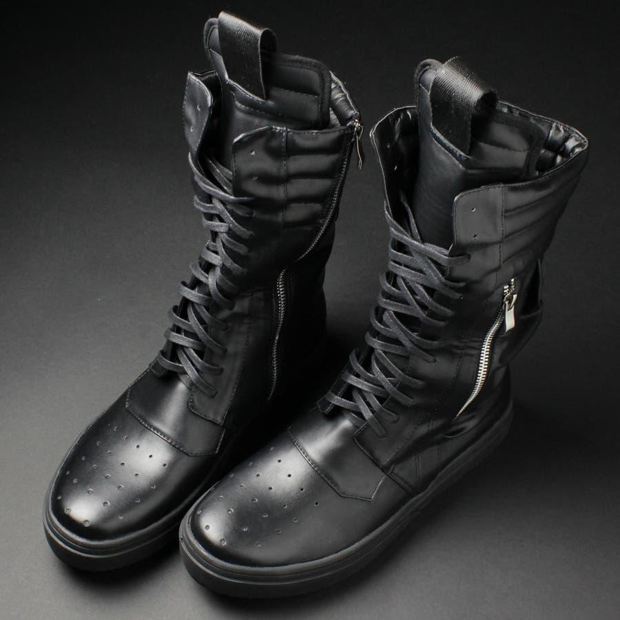スニーカー ハイカット メンズ スニーカー ブーツイン 紐靴 PU革靴 シューズ 靴 紳士靴 ブラック 黒