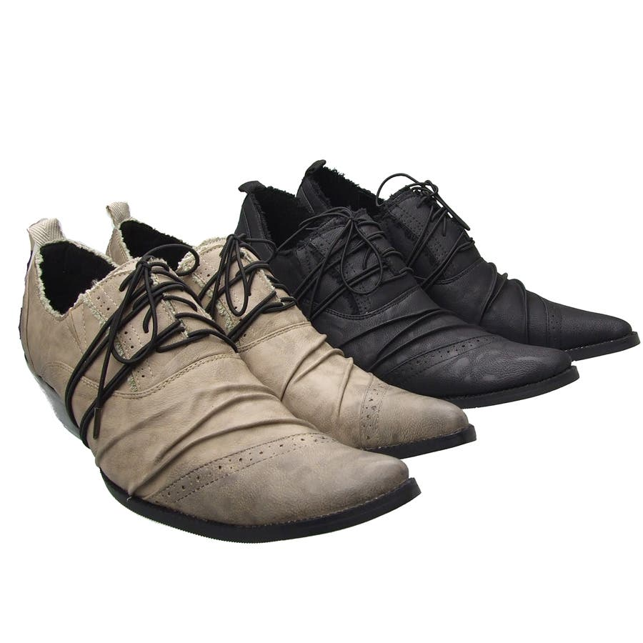 endevice[エンデヴァイス]ドレスシューズ バターナイフ シューズ ブラック ベージュ シューズ くつ 靴 ファッション