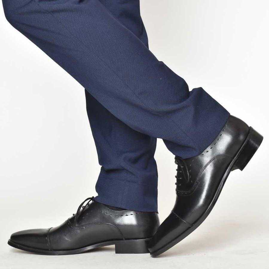 本革 革靴 レザー レースアップシューズ 内羽根 メダリオン ビジネスシューズ メンズ ロングノーズ ストレートチップ
