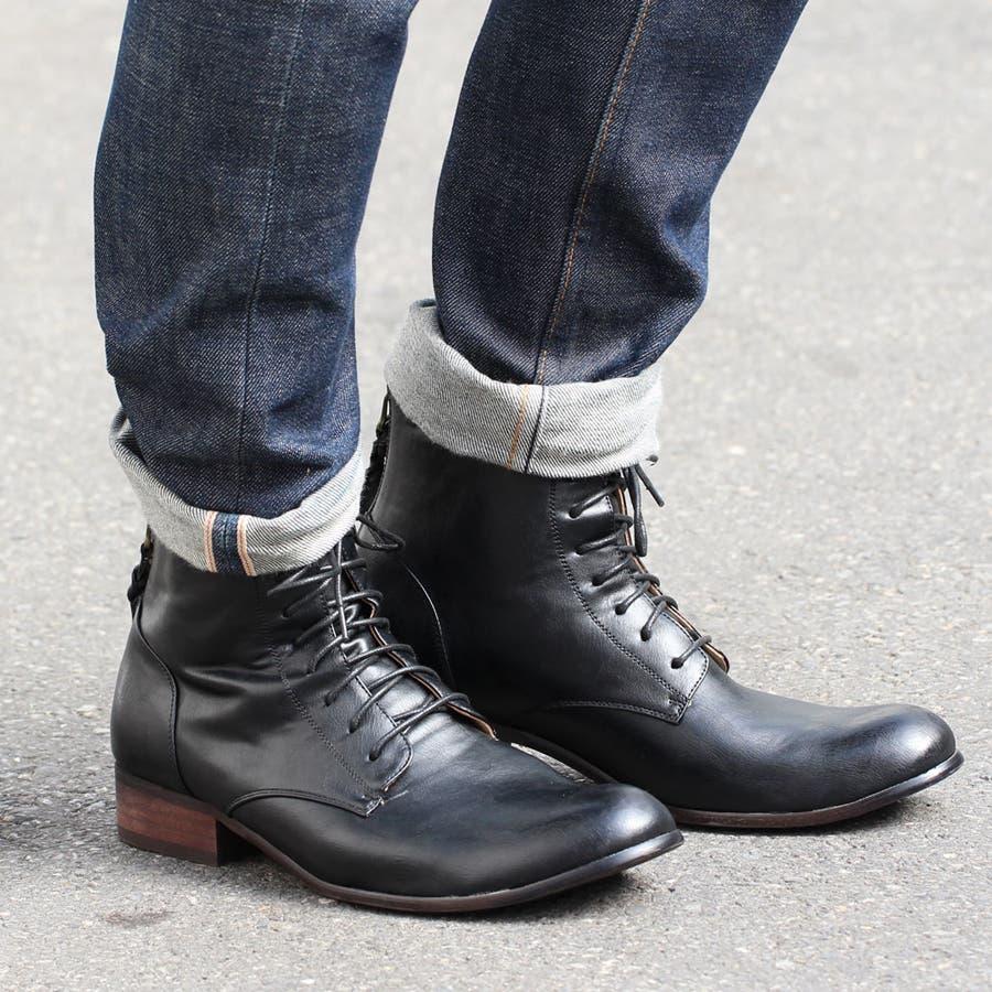 O,NINE , オーナイン, ブーツ メンズ レースアップブーツ 黒 ブラック 茶 ブラウンおしゃれ秋冬靴メンズ シューズ シンプル, おしゃれ  バックジップ シャツ 秋冬 秋 冬