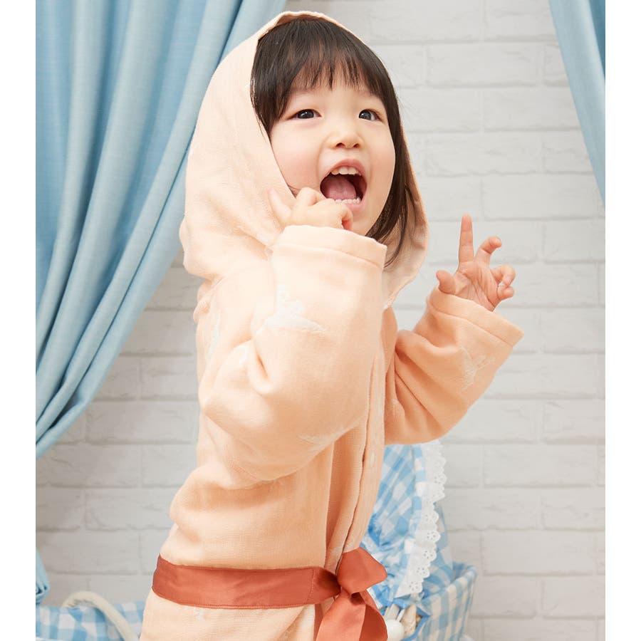 【日本製】ギフトにもぴったり!わたあめガーゼ6重ガーゼフード付きベビーガウン《バスローブ/羽織り/ルームウェア/部屋着/出産準備/出産祝い/ギフト/プレゼント》 7