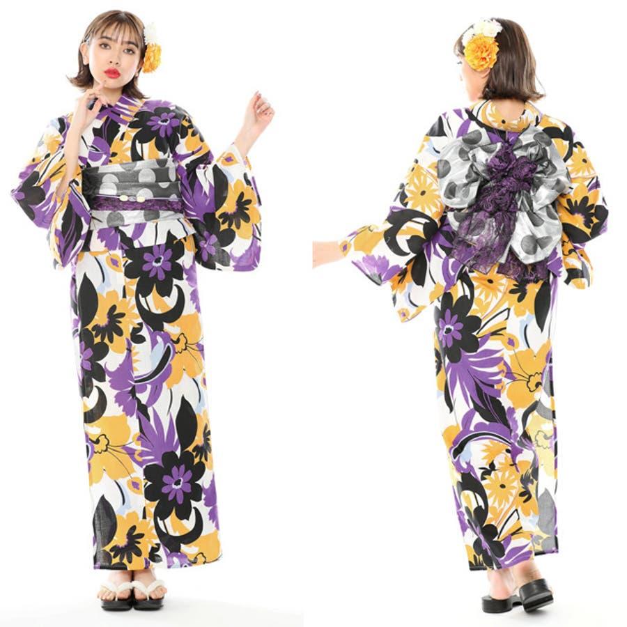 浴衣8点セット Y383 ドット 夏 浴衣 白 黒 紫 黄 派手 2018浴衣 2