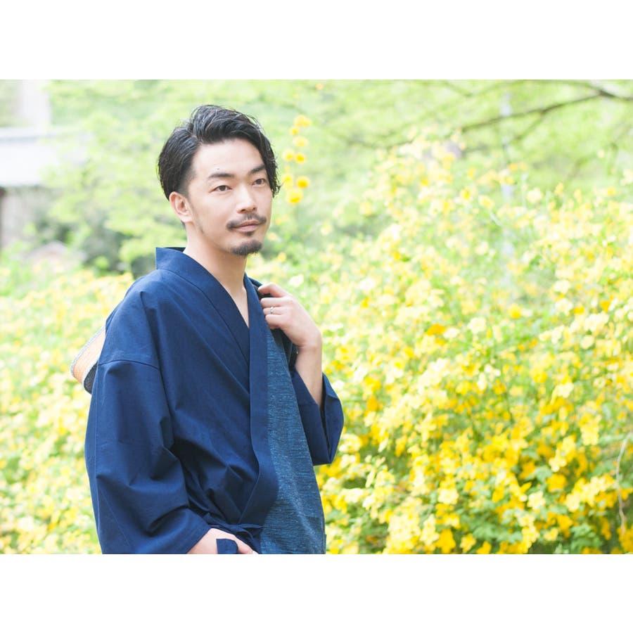 バイカラー切り替え作務衣 メンズ 日本製 久留米織 六花/ROCCA 4