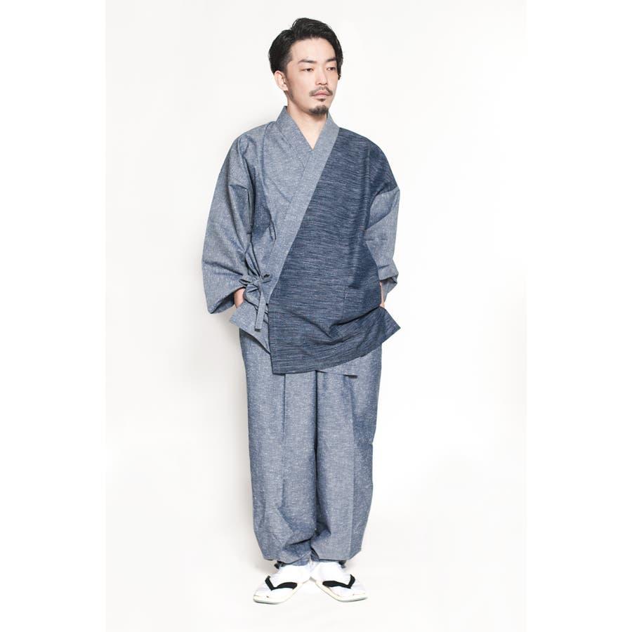 バイカラー切り替え作務衣 メンズ 日本製 久留米織 六花/ROCCA 28