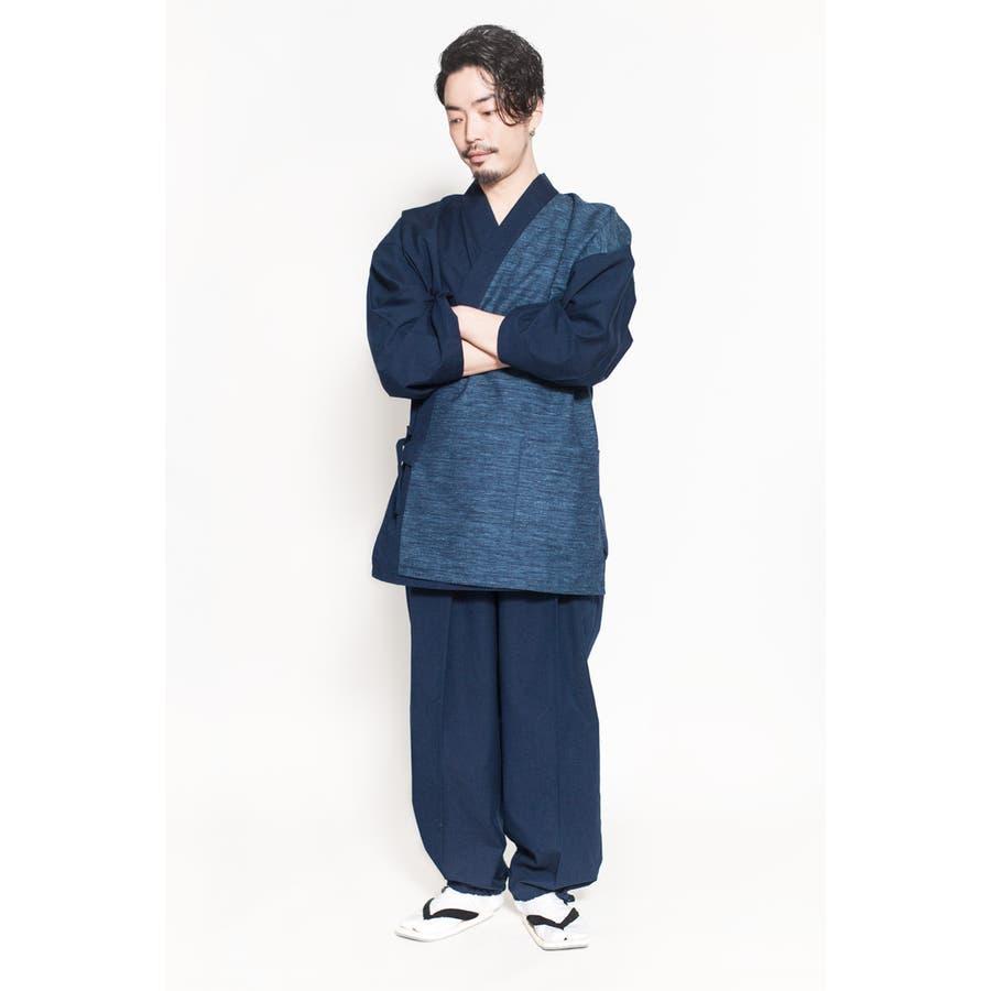 バイカラー切り替え作務衣 メンズ 日本製 久留米織 六花/ROCCA 8