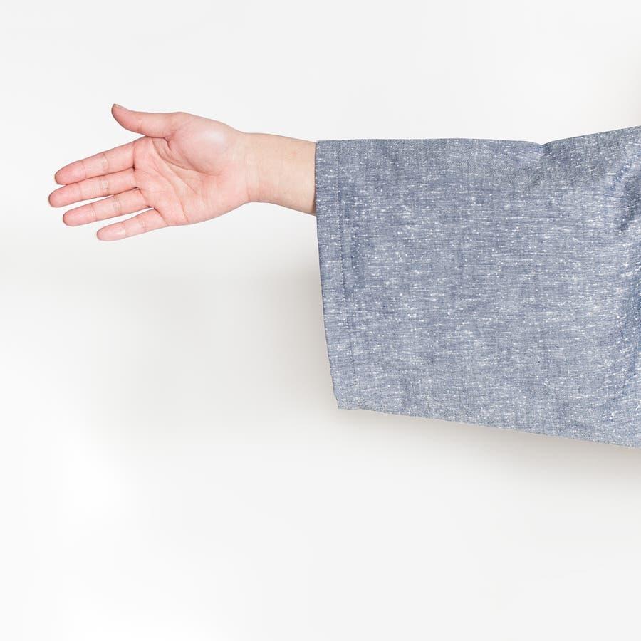 バイカラー切り替え作務衣 メンズ 日本製 久留米織 六花/ROCCA 9