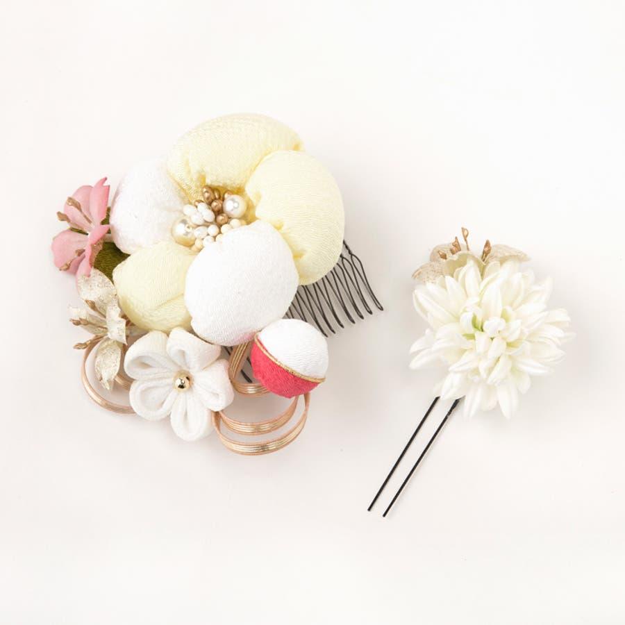 髪飾り 丸花 かわいい 20W207 和装 Watmosphere/ワトモスフィア 日本製 和装小物 着物 振袖 袴 成人式 結婚式コサージュ ヘアアクセサリー ヘアーアクセサリー 16