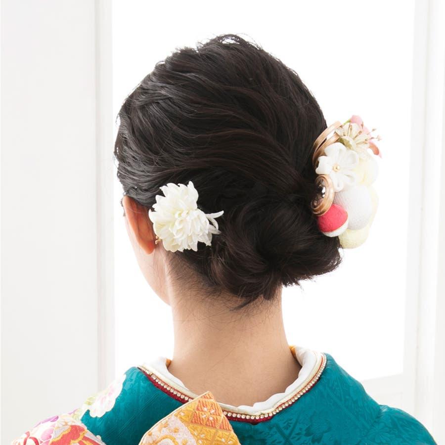 髪飾り 丸花 かわいい 20W207 和装 Watmosphere/ワトモスフィア 日本製 和装小物 着物 振袖 袴 成人式 結婚式コサージュ ヘアアクセサリー ヘアーアクセサリー 9