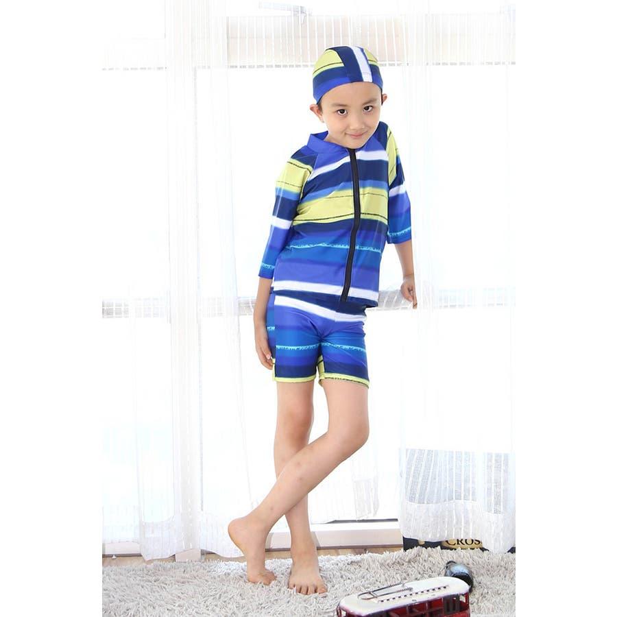 キッズ 水着 男の子 3点セット 長袖トップス パンツ キャップ付き 帽子