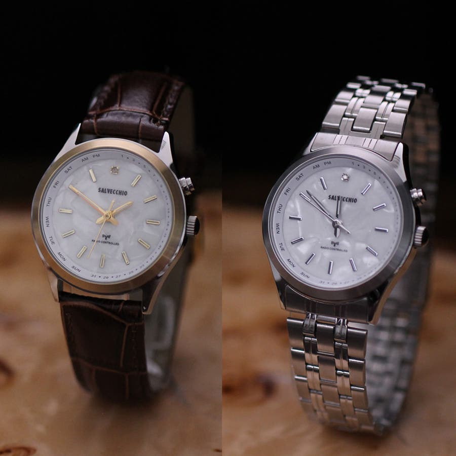 SALVECCHIO アナログ ダイヤモンド付 革ベルト 腕時計 【SAL-1290】 1