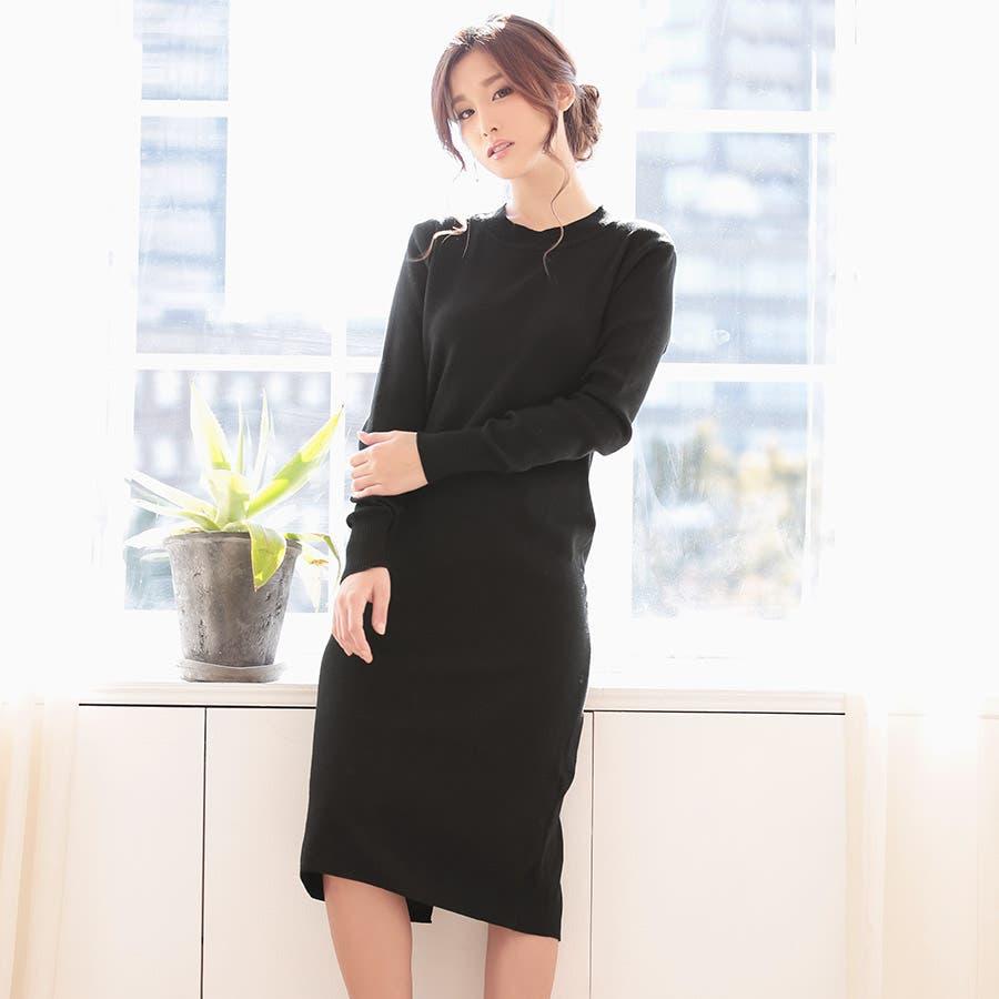 気に入りました Nina-ニーナ- 長袖ニットミモレ丈ワンピース 3colors  益田杏奈 男親
