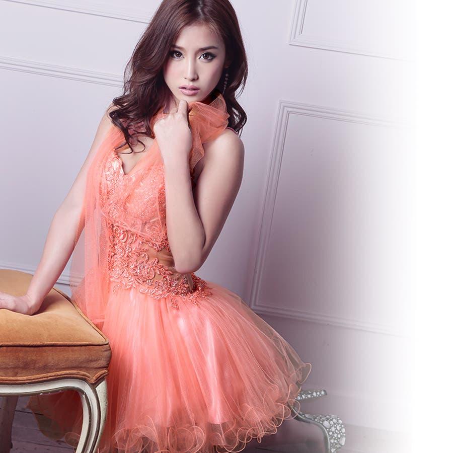 【L.A.ブランド[FABULUX]】ショール付きお腹透けデザインフレアミニドレス(ピンク