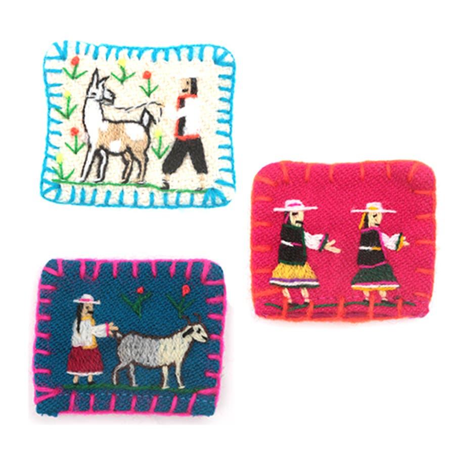 ブローチ ピン 動物 アニマル かわいい 刺繍 服飾 アソート
