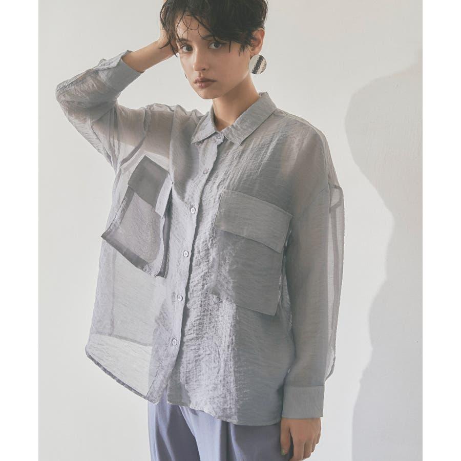 ビッグポケットシアーワークシャツ/立体感のあるビッグワークポケットがアクセント/トップス/レディース/ブラウス/シャツ/長袖/ポケット/オーバーサイズ/ボタン/羽織り/薄手/シンプル 10