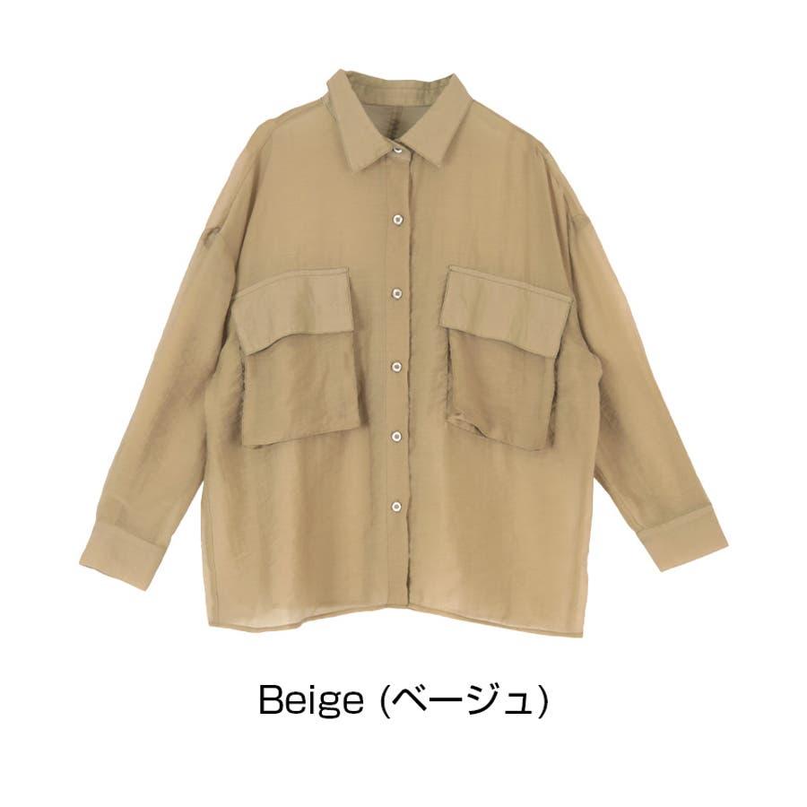 ビッグポケットシアーワークシャツ/立体感のあるビッグワークポケットがアクセント/トップス/レディース/ブラウス/シャツ/長袖/ポケット/オーバーサイズ/ボタン/羽織り/薄手/シンプル 2