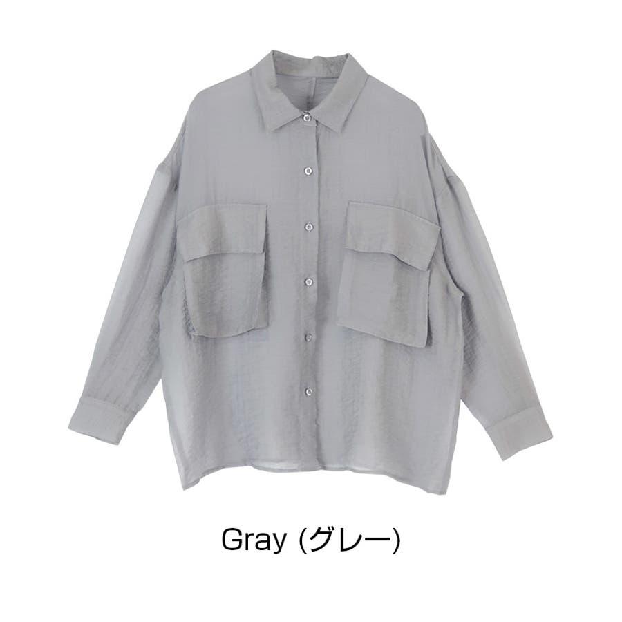 ビッグポケットシアーワークシャツ/立体感のあるビッグワークポケットがアクセント/トップス/レディース/ブラウス/シャツ/長袖/ポケット/オーバーサイズ/ボタン/羽織り/薄手/シンプル 3