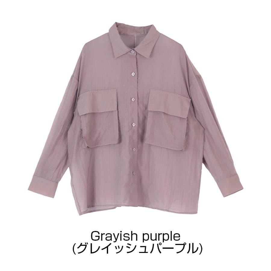 ビッグポケットシアーワークシャツ/立体感のあるビッグワークポケットがアクセント/トップス/レディース/ブラウス/シャツ/長袖/ポケット/オーバーサイズ/ボタン/羽織り/薄手/シンプル 4