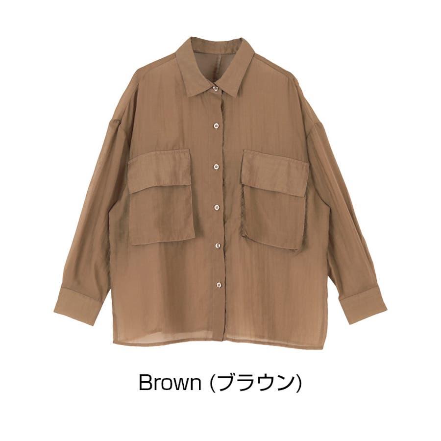ビッグポケットシアーワークシャツ/立体感のあるビッグワークポケットがアクセント/トップス/レディース/ブラウス/シャツ/長袖/ポケット/オーバーサイズ/ボタン/羽織り/薄手/シンプル 5