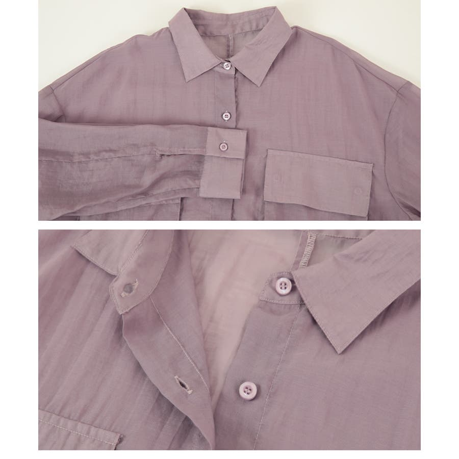 ビッグポケットシアーワークシャツ/立体感のあるビッグワークポケットがアクセント/トップス/レディース/ブラウス/シャツ/長袖/ポケット/オーバーサイズ/ボタン/羽織り/薄手/シンプル 6