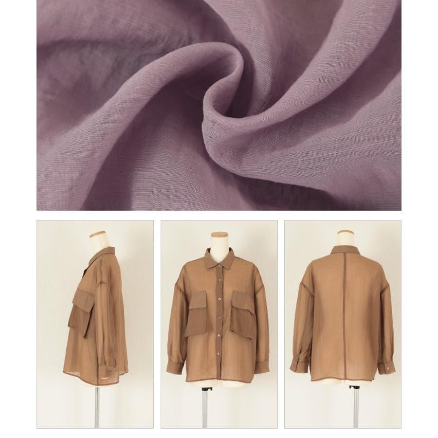 ビッグポケットシアーワークシャツ/立体感のあるビッグワークポケットがアクセント/トップス/レディース/ブラウス/シャツ/長袖/ポケット/オーバーサイズ/ボタン/羽織り/薄手/シンプル 8