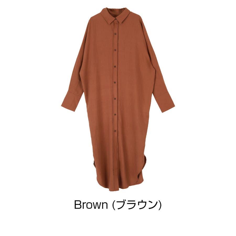 オーバーサイズマキシシャツワンピース/オーバーサイズシルエットで抜け感のあるコーディネートが/ワンピース/レディース/シャツワンピ/ゆったり/長袖/シャツ襟/麻混/羽織り/抜け感 3