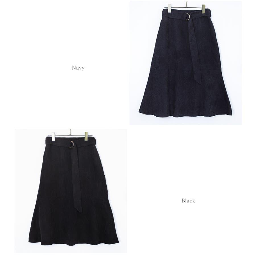 ベルト付裾フレアコーデュロイスカート/ボトムス/レディース/スカート/フレアスカート/コーデュロイ/ベルト付/膝丈【UR'Sユアーズ】 8