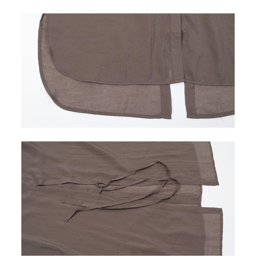 シアーバックスリットデザインシャツ/トップス/レディース/シャツ/シアー/バックスリット/リボン/ボタン/透け感【UR'S ユアーズ】 6