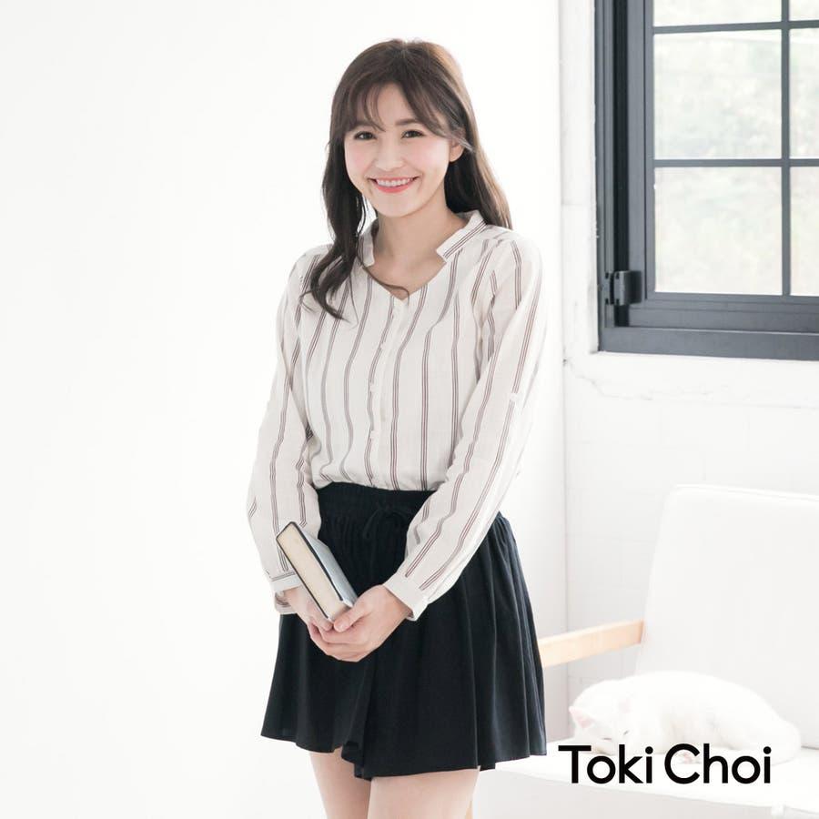 Toki Choi ピンストライプデザインVネックシャツ-5025002 20160215  春先行 強調