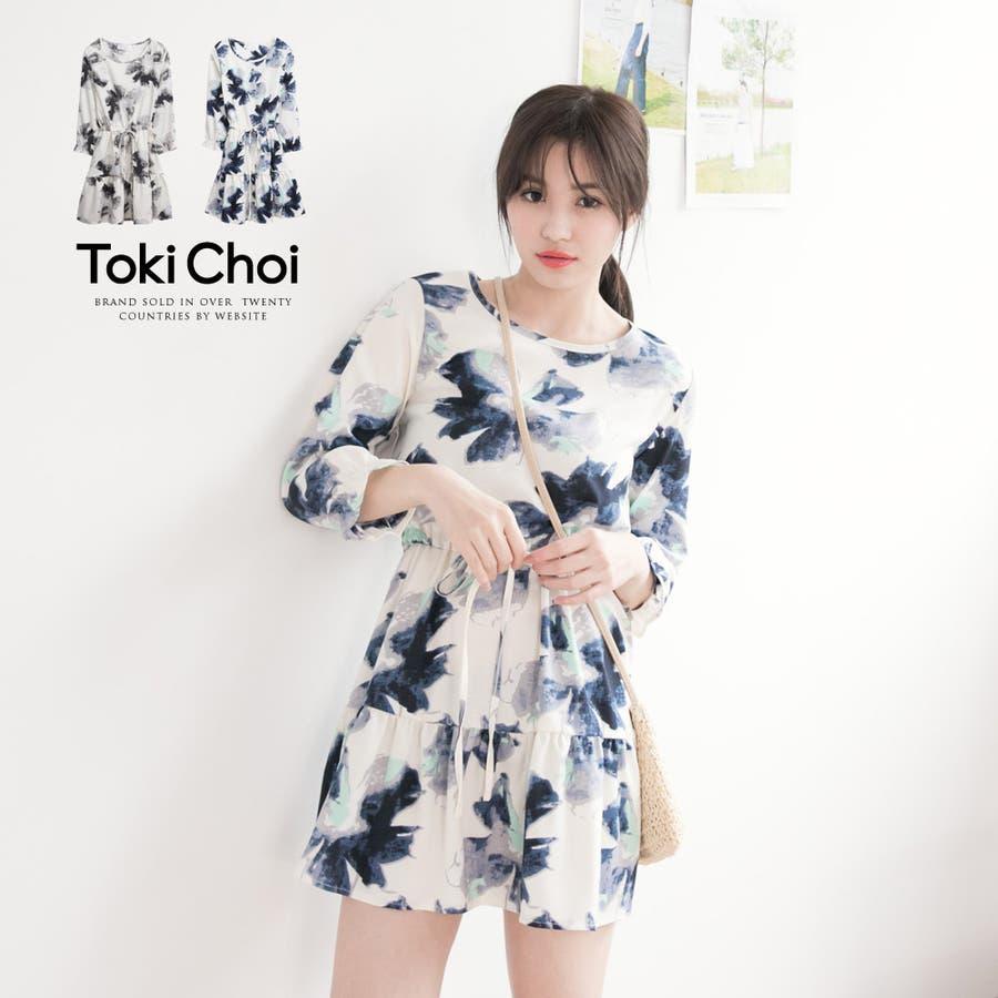 可愛い TokiChoi ぼかしプリント絞り紐柄ワンピ-6001178 20160215  いま買うべき!毎日のコーデをもっとおしゃれに 春先行 横溢