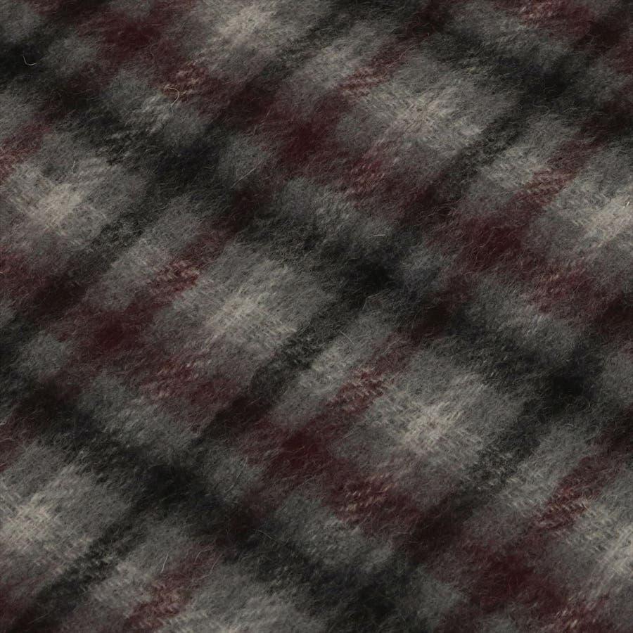 マフラー /  ウールカシミヤ グレー系 チェック柄 (リバーシブル) 3