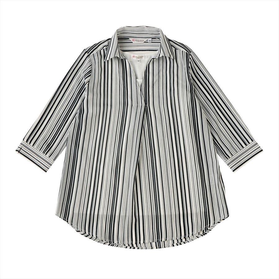 レディース ウィメンズ カジュアル 七分袖 ツインセット 白×ネイビーストライプ 1