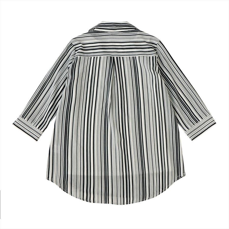 レディース ウィメンズ カジュアル 七分袖 ツインセット 白×ネイビーストライプ 2