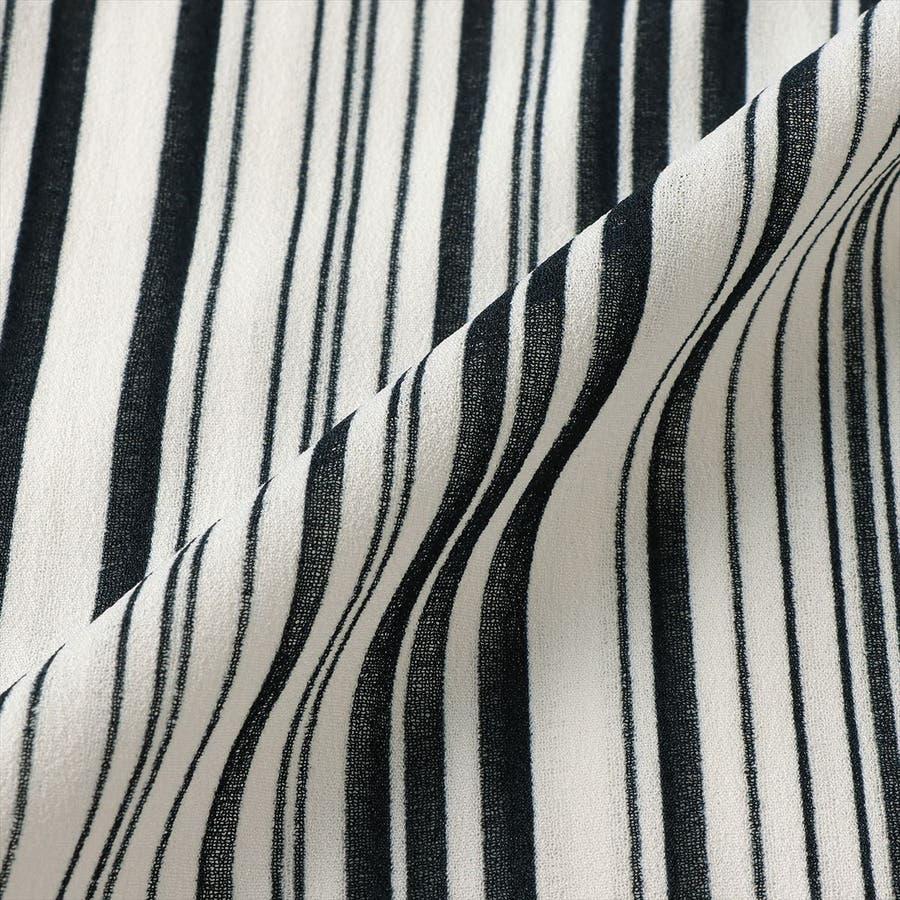 レディース ウィメンズ カジュアル 七分袖 ツインセット 白×ネイビーストライプ 5