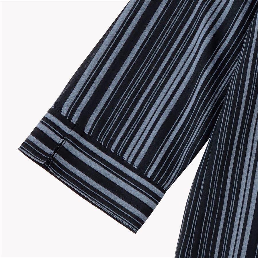 レディース ウィメンズ カジュアル 七分袖 ツインセット ネイビー×サックスストライプ 4