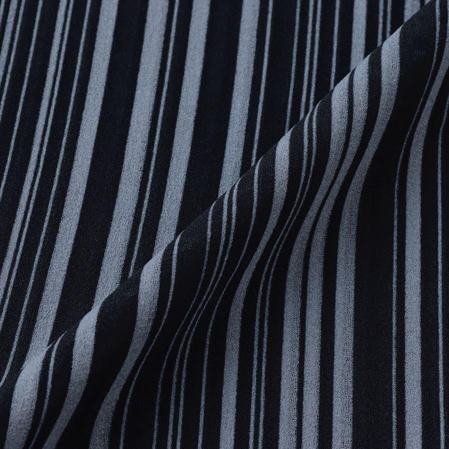 レディース ウィメンズ カジュアル 七分袖 ツインセット ネイビー×サックスストライプ 5