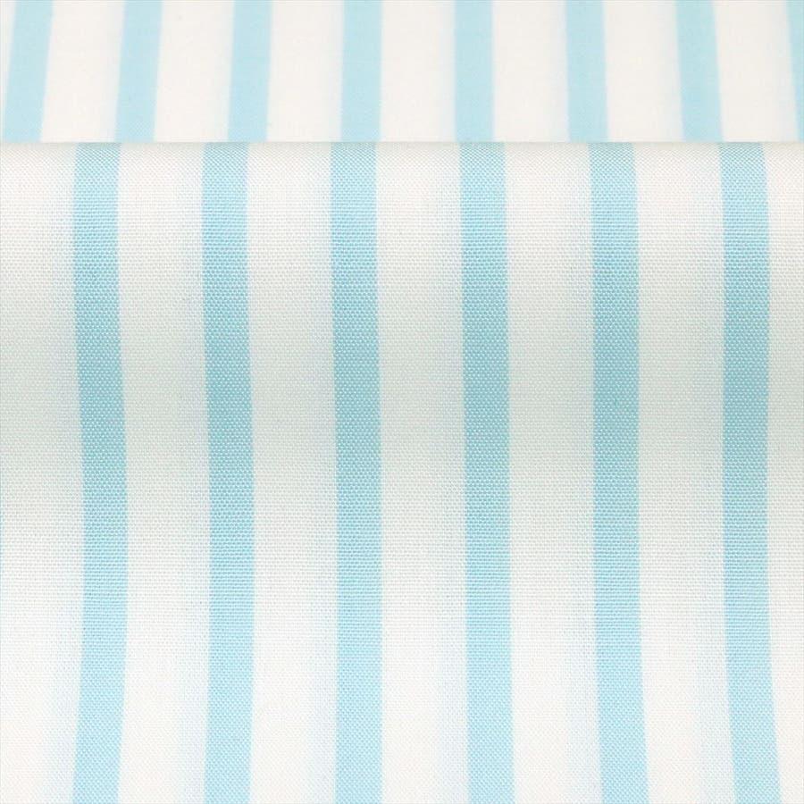 ワイシャツ 長袖 形態安定 ホリゾンタル ワイド 綿100% 白×サックスストライプ スリム 4