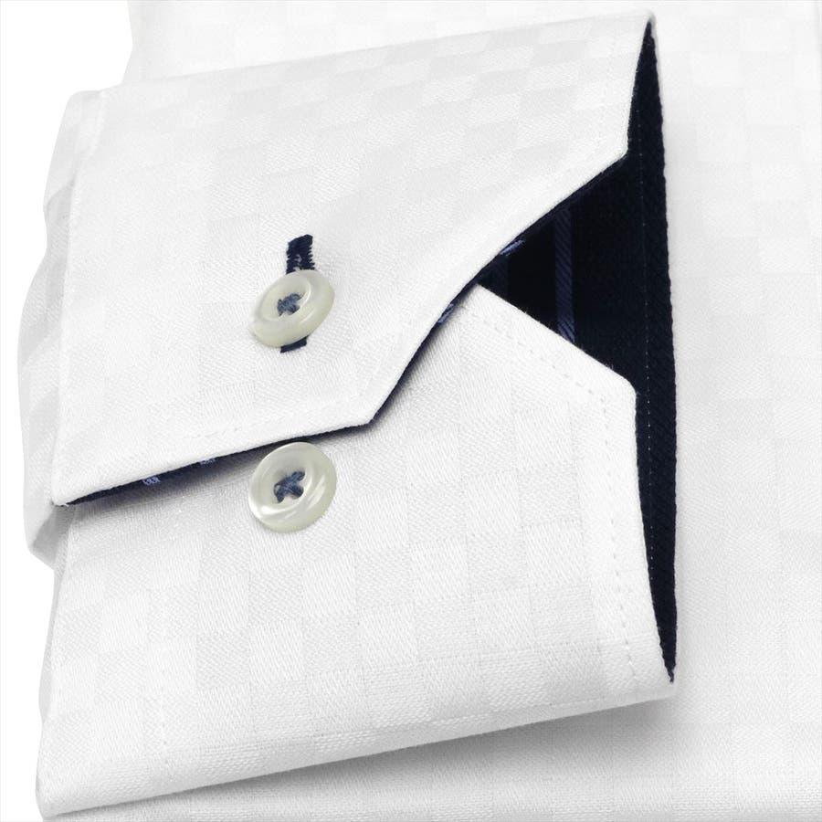 ワイシャツ 長袖 形態安定 ラクリア ドゥエボットーニ ボタンダウン 白×市松格子織柄 スリム 3