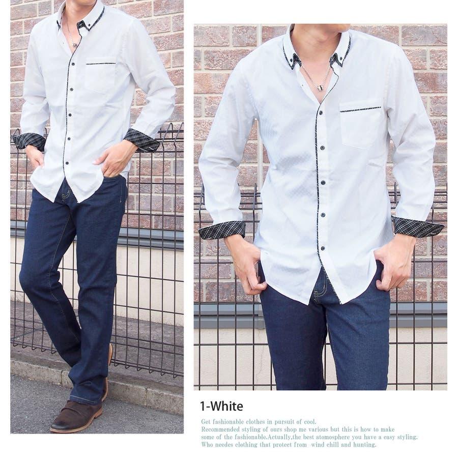 形態安定加工 ボタンダウンシャツ メンズ 長袖シャツ ブロード ドレスシャツ カジュアルシャツ シャドーチェック