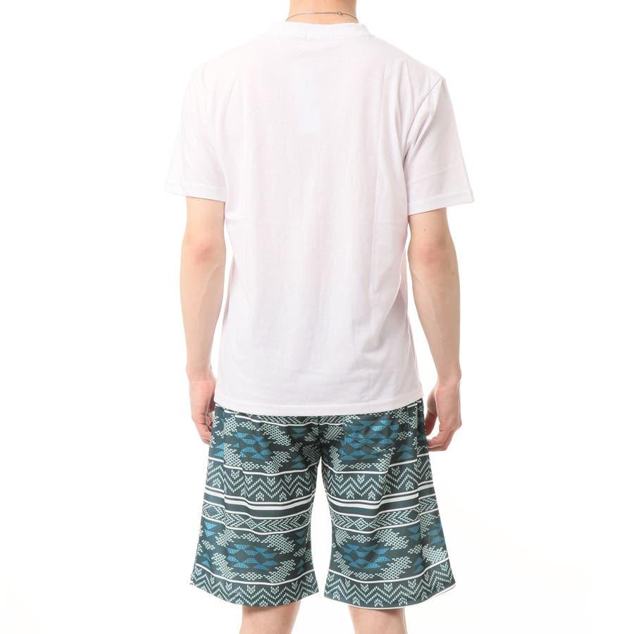 上下セット メンズ セットアップ ポケット付 クルーネック 半袖 Tシャツ カモフラ 迷彩柄 ボタニカル ボーダー ハーフパンツ ショートパンツ ショーツ ルームウェア トップス 通販 新作 夏服 10