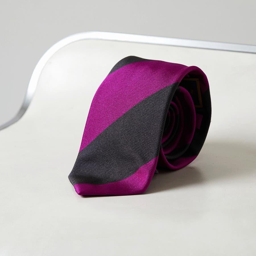 イタリア製生地 レップ織り ビッグストライプ ネクタイ ノーブル チャコールグレー 1