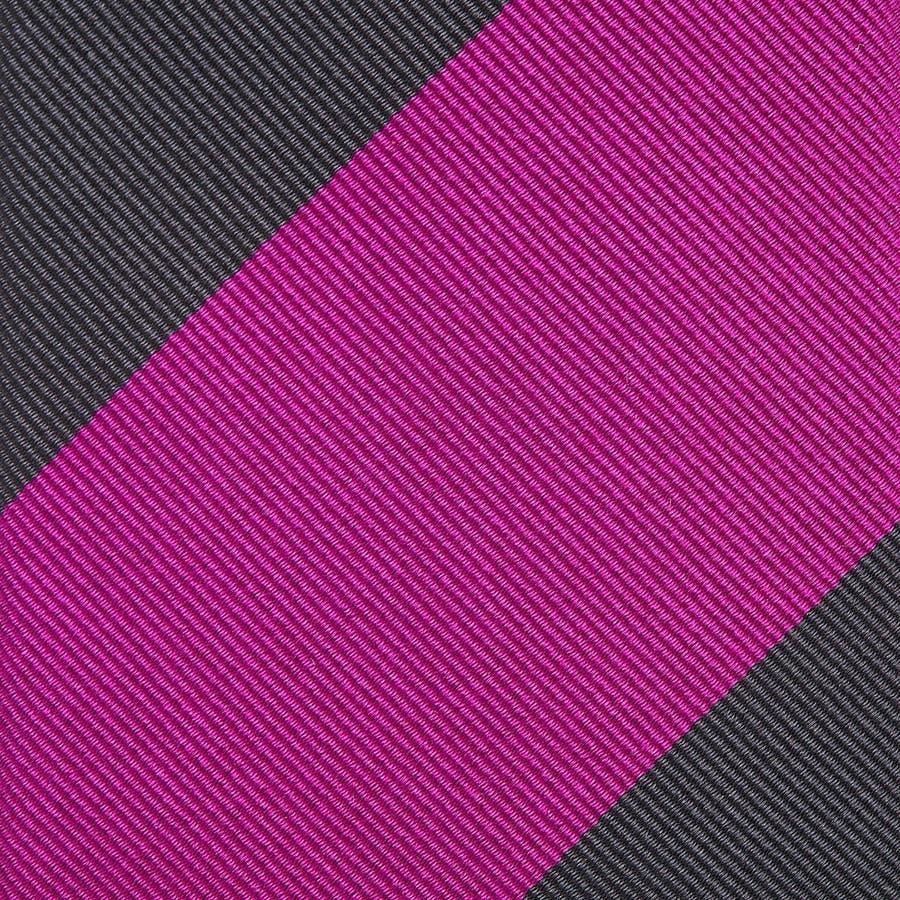 イタリア製生地 レップ織り ビッグストライプ ネクタイ ノーブル チャコールグレー 4
