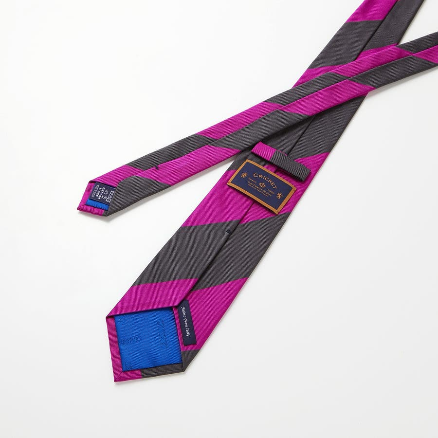 イタリア製生地 レップ織り ビッグストライプ ネクタイ ノーブル チャコールグレー 6
