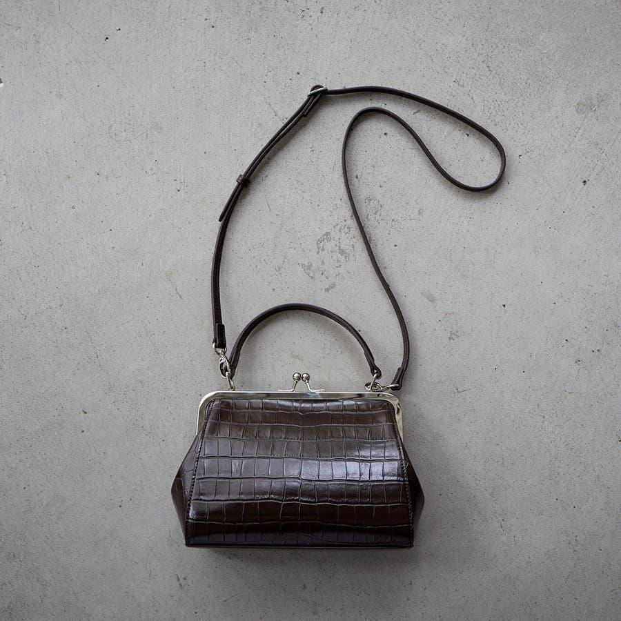 [エフォル] EFOLE クロコ型押し フェイクレザー がま口 ショルダー バッグ 3