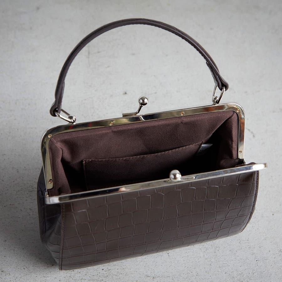 [エフォル] EFOLE クロコ型押し フェイクレザー がま口 ショルダー バッグ 5