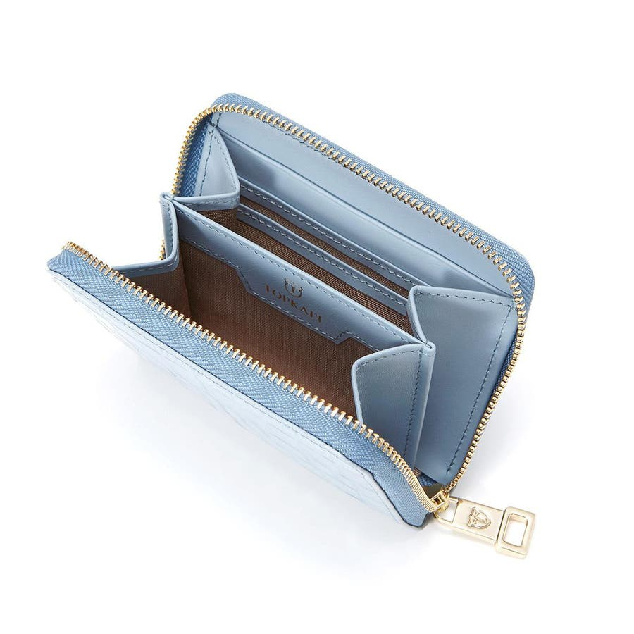 クロコ型押しレザー ラウンドファスナー折財布 COCCO コッコ 7